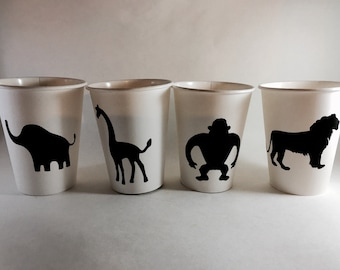 JunGle Animal zoo gorilla lion giraffe elephant Chalkboard Labels for hot cocoa bar or mason jars baby shower birthday party decorations cup