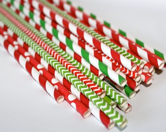 100 ChrisTmaS Paper StraWs red and Green for cake pops decorating holiday parties striped chevron stars polka dots