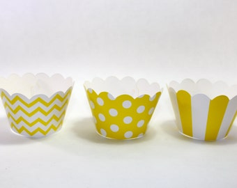 20 Yellow cupcake wrappers stripes polka dot dotted stripes chevron zig zag birthday party table decoration decor favors wedding baby shower