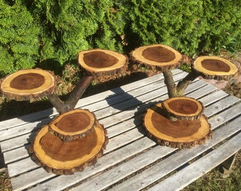 2 Large Log Dark Elm Wood Rustic Cake Cupcake Stands Wedding party shower wooden 4 tiered