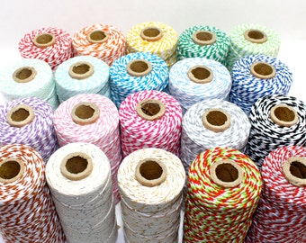 110 Yards 12 Ply Bakers Twine red orange yellow kelly  mint green turquoise navy purple pink brown black grey silver gold christmas blue
