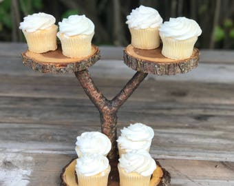 Mini Elm Wood Rustic Cupcake Stand w/removable base tier Wedding party shower wooden 3 tiered, lumberjack party, wild things are, boho