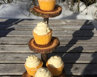 Unique gift Mini Elm Wood Rustic Cupcake Stand Wedding party shower wooden 3 tiered, lumberjack party, with removable bottom