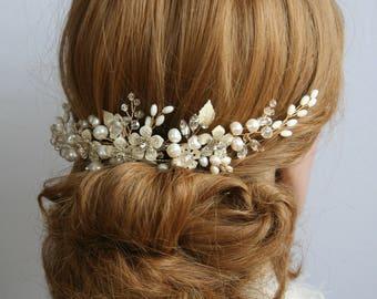 Wedding hair comb Flower Bridal hair comb Ivory Bridal headpiece Bridal hair flower Bridal hair accessories Silver Wedding Hair accessories