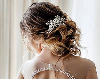 Crystal Pearl Bridal hair comb Pearl Wedding hair comb Pearl Bridal headpiece Wedding headpiece Pearl Wedding hair accessories