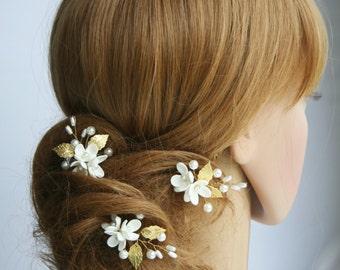 die Brautbrautjungfern Elegante Perlen Blatt Blumen Haar Stifte
