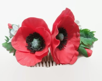 Red Poppy Flower Hair Comb. Prom hair flower. Hair flower. Polymer clay flower. Flower hair accessories. Gift for her. Prom hair accessory.