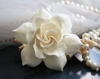 Ivory Gardenia Hair clip Wedding hair flower Bridal hair flower Bridal flower hair clip Clay hair flower Ivory wedding