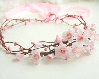 Sakura blossom Bridal crown, Flower Bridal crown, Bridal hair crown, Wedding flower crown, Flower Bridal headpiece, Bridal hair accessories