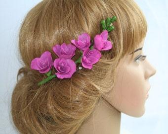 Bridal hair flower freesia, bridal flower comb, flower hair accessory, bridal hair accessory, flower comb, bridal headpiece, lavander, pink