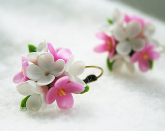 Pink White Lilac earrings Lilac jewelry Flower earrings Flower jewelry Bridal jewelry Polymer clay earrings Polymer clay jewelry