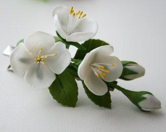 Bridal hair flower - Spring blossom hair flower, Hair accessories, Flower hair clip, Jasmine blossom hair clip, Spring flower, hair clip