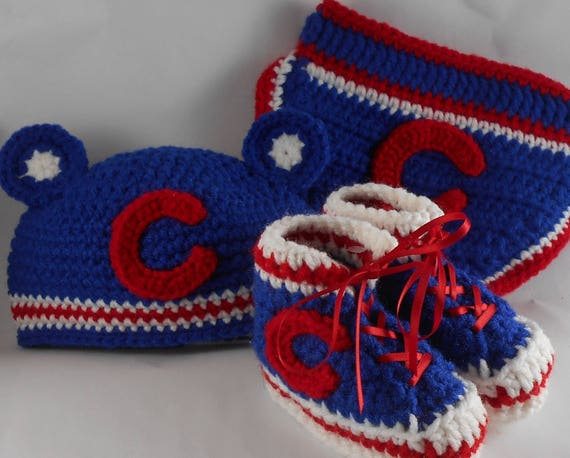 Custom Handmade Crochet Chicago Blackhawk Hockey High Top Booties /& Baby Hat