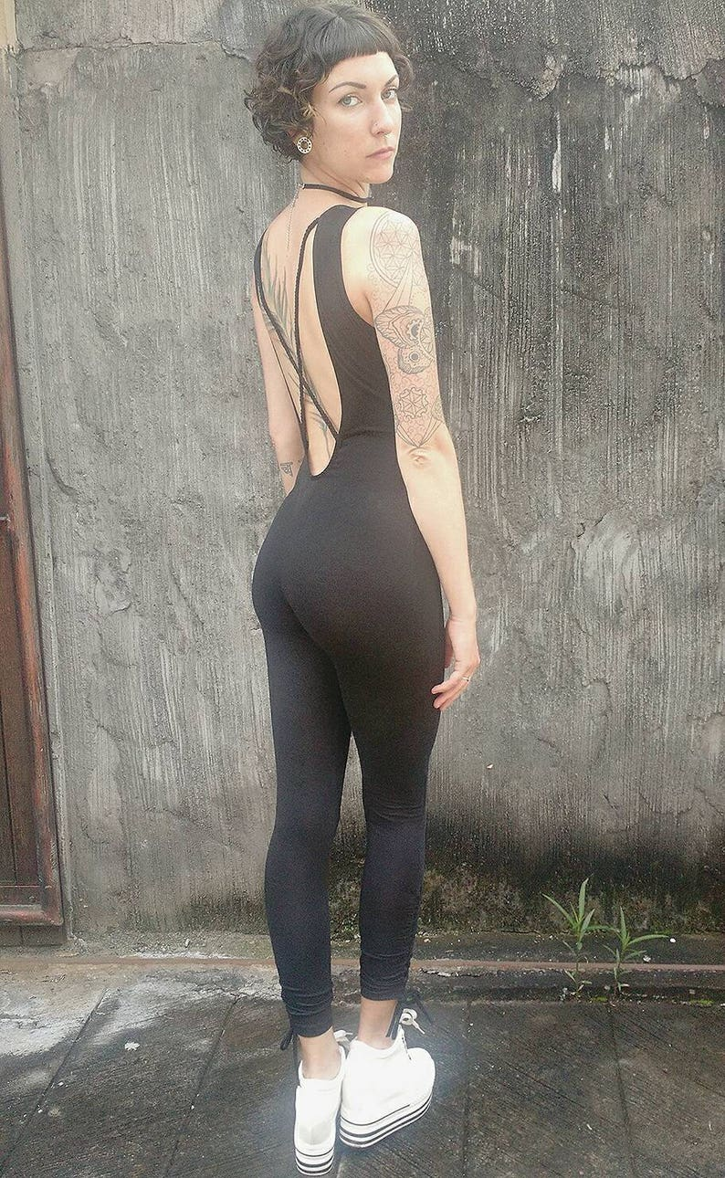SALE Low Back Tank Top Catsuit with cinched Ankles