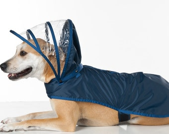 7baf36fc3a7 Dog Raincoat - Navy Blue - Rainbow Line
