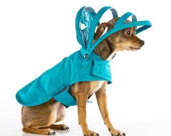 c85ddb2e113 Dog Raincoat - Teal - Rainbow Line