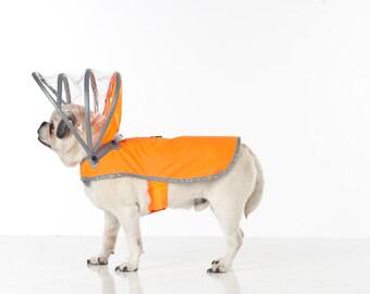 FINAL SALE Dog Raincoat - Safety Orange - Lightning Line