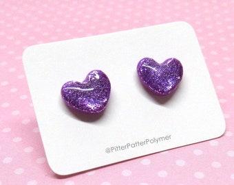 Small Sparkle Facet Heart Earrings in Purple Lavender Rainbow