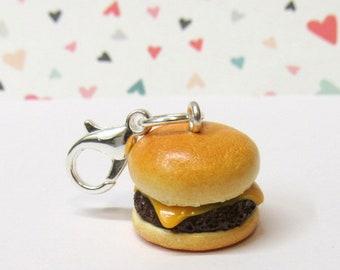 Hamburger Cheeseburger Charm, Food Charm, Stitch Marker, Polymer Clay Food, Burger Charm, Progress Keeper, Planner Charm, Miniature Food