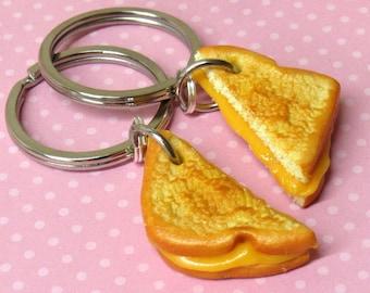 Best Friend Keychains, Grilled Cheese Keychains, Friendship or Boyfriend Gift, Polymer Clay Food Keychains