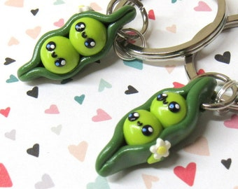 Pea Pod Keychains, Friendship Key Chains, Couples Keychains, Best Friend Gift, Food Charms, Two Peas in a Pod, Peapod Charm