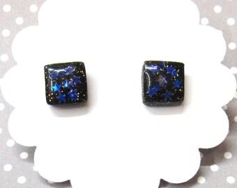 Black Stud Earrings, Everyday Earrings, Star Earrings, Galaxy Earrings, Hypoallergenic Posts, Nickel Free, Square Studs