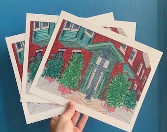 "Fairmount Philadelphia Art, 8""x10"" Philly Print, Fairmount Print, Fairmount Philadelphia Print, Fairmount Art, Philly Art, Row home Drawing"