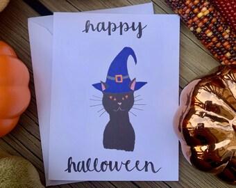 Handmade Happy Halloween Cards, Halloween Card, Black Cat Witch Halloween Card, Happy Halloween, Spooky Cards, Halloween Card Set, Fall Card