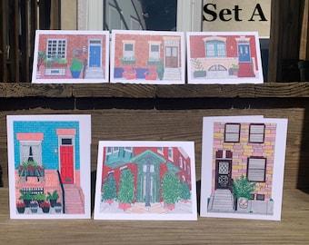 Stoops of Fairmount Card Set, Fairmount Philadelphia Art, Philadelphia Art, Fairmount Art, Philly Art, Notecards, City Row Home Art, PHL Art