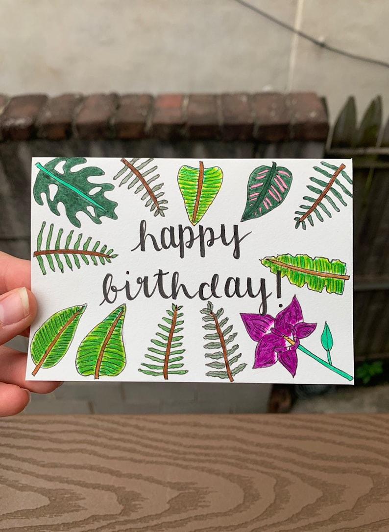 handmade happy birthday card tropical birthday card nature