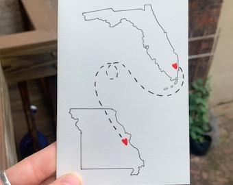Handmade Long Distance Card, Valentines Day Card, State to State Card, LDR Card for Her, LDR Card for Him, Best Friend Card, Friendship Card