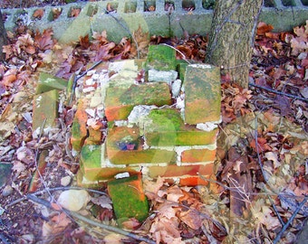 Mysterious Stacked Bricks Outside of Abandoned House in Central Indiana Print Poster