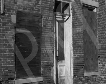 Black and White Photograph of Abandoned Building in Rual Indiana Art Print Poster