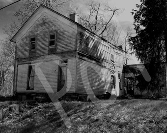 Black & White Photograph of Large Abandoned Decaying Home on a Hill in Southern Indiana Poster Print