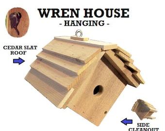 Ark Workshop WREN House Cedar Shelter Box Home for wrens, HANGING, SLAT roof