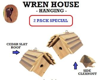 Ark Workshop WREN House 2 PACK Cedar Shelter Box Home for wrens, HANGING