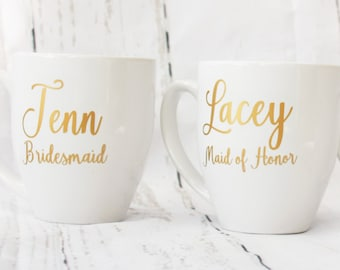Bridesmaid Mugs Bridesmaid Gifts Maid of Honor Gift Wedding Mugs