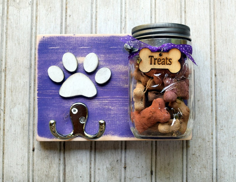Dog leash holder with treat jar Handmade Leash Holder Dog treat jarLeash holder combination