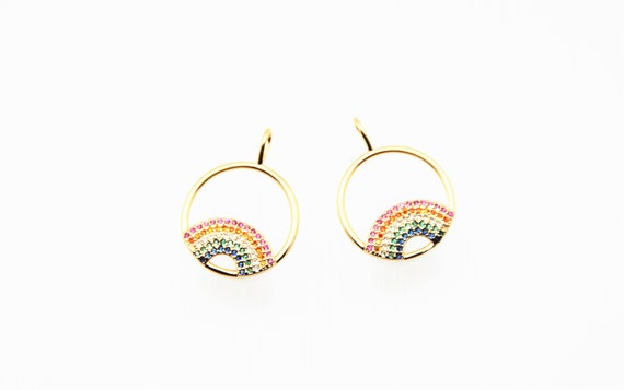 Color CZ Micro Pave 18mm Rainbow in the Circle Pendant