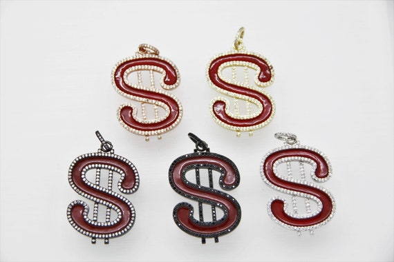 CZ Micro Pave Red Enamel 30x45mm Dollar Signs