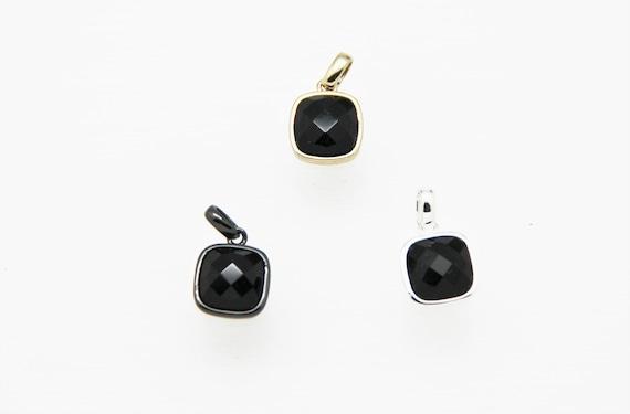 Black Onyx 10x10mm Square Shape Brass Bezel Setting Pendant