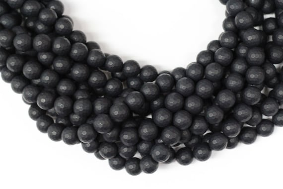 "Frosted Black Onyx 10mm faceted round beads 16"" length strand"
