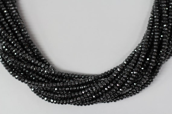 "Hematite 5x3mm faceted roundel beads 8"" length strand"