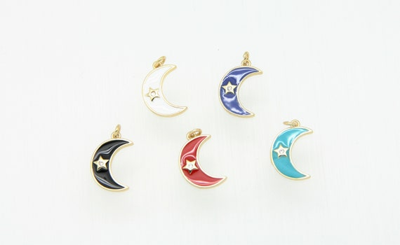 CZ Micro Pave Enamel 15mm Moon With Star Charm