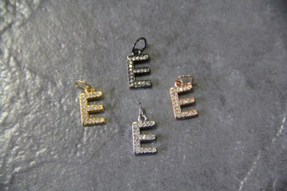 "CZ Micro Pave Letter ""E"" Charm with Jump Ring"