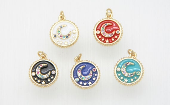 CZ Micro Pave Enamel 14mm Disc with Moon Charm