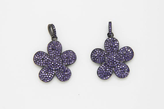 Amethyst CZ Micro Pave 25mm Flower Pendant With CZ Bail