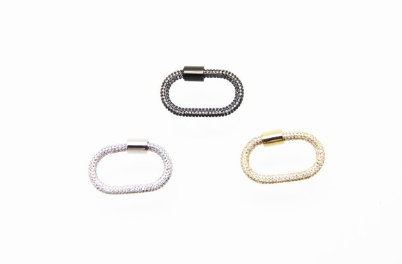 CZ Micro Pave 17x30mm Oval Screw Clasp Carabiner