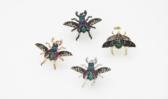 CZ Micro Pave 20x28mm Insect Pendant