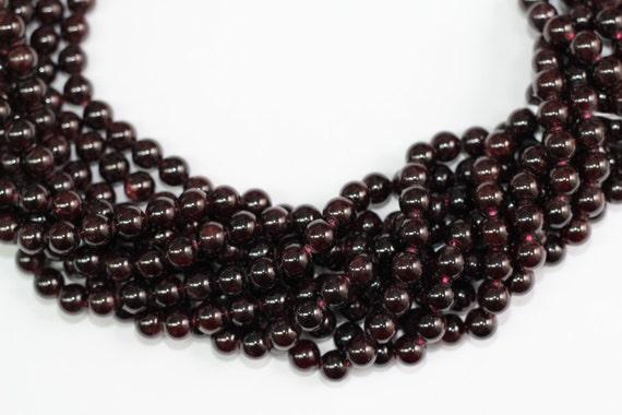 "Garnet 8mm smooth round beads 16"" length strand"